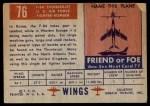 1952 Topps Wings #76   F-84 Thunderjet Back Thumbnail