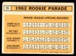 1963 Topps #29 TWO  -  Sammy Ellis / Ray Culp / John Boozer / Jesse Gonder 1962 Rookie Stars Back Thumbnail