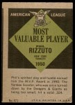 1961 Topps #471   -  Phil Rizzuto Most Valuable Player Back Thumbnail