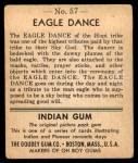1947 Goudey Indian Gum #57   Eagle Dance Back Thumbnail