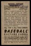 1952 Bowman #149  Howie Judson  Back Thumbnail