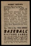 1952 Bowman #105  Bobby Brown  Back Thumbnail