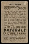 1952 Bowman #139  Jerry Priddy  Back Thumbnail