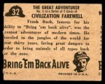1950 Topps Bring Em Back Alive #32   The Great Adventurer Back Thumbnail