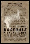 1952 Bowman #178  Davey Williams  Back Thumbnail