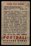 1951 Bowman #10  Steve Van Buren  Back Thumbnail