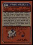 1973 Topps #401  Wayne Mulligan  Back Thumbnail
