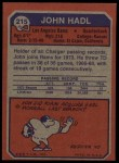 1973 Topps #215  John Hadl  Back Thumbnail