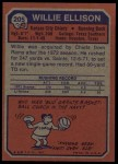 1973 Topps #205  Willie Ellison  Back Thumbnail