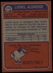 1973 Topps #174  Lionel Aldridge  Back Thumbnail