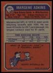 1973 Topps #161  Margene Adkins  Back Thumbnail