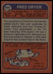 1973 Topps #389  Fred Dryer  Back Thumbnail
