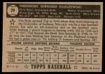 1952 Topps #29  Ted Kluszewski  Back Thumbnail