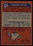 1973 Topps #405  Frank Pitts  Back Thumbnail