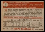 1952 Topps #41 RED Bob Wellman  Back Thumbnail