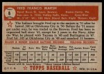 1952 Topps #8 RED Fred Marsh  Back Thumbnail