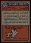 1973 Topps #258  Donnie Green  Back Thumbnail
