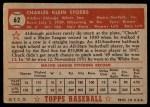 1952 Topps #62 RED Chuck Stobbs  Back Thumbnail