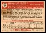 1952 Topps #190 CRM Don Johnson  Back Thumbnail