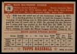 1952 Topps #78 RED Ellis Kinder  Back Thumbnail