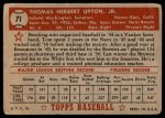 1952 Topps #71  Tom Upton  Back Thumbnail