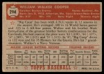 1952 Topps #294  Walker Cooper  Back Thumbnail