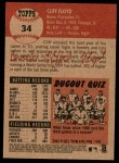 2002 Topps Heritage #34  Cliff Floyd  Back Thumbnail