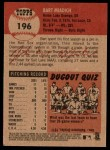 2002 Topps Heritage #196  Bart Miadich  Back Thumbnail