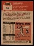 2002 Topps Heritage #36  Mark McGwire  Back Thumbnail