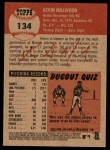 2002 Topps Heritage #134  Kevin Millwood  Back Thumbnail