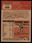 2002 Topps Heritage #308  David Cone  Back Thumbnail