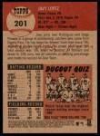 2002 Topps Heritage #201  Javy Lopez  Back Thumbnail