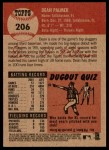 2002 Topps Heritage #206  Dean Palmer  Back Thumbnail