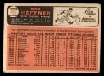 1966 Topps #432 ^COR^ Bob Heffner  Back Thumbnail