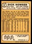 1968 Topps #467  Dick Howser  Back Thumbnail