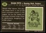 1969 Topps #102  Elijah Pitts  Back Thumbnail