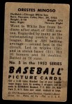 1952 Bowman #5  Minnie Minoso  Back Thumbnail
