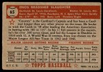 1952 Topps #65 RED Enos Slaughter  Back Thumbnail