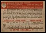 1952 Topps #394  Billy Herman  Back Thumbnail