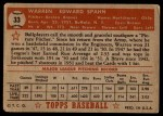 1952 Topps #33  Warren Spahn  Back Thumbnail