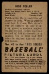 1952 Bowman #43  Bob Feller  Back Thumbnail
