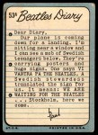 1964 Topps Beatles Diary #53 A Paul McCartney  Back Thumbnail