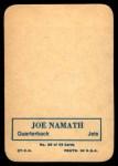 1970 Topps Glossy #29  Joe Namath     Back Thumbnail