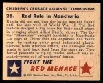 1951 Bowman Red Menace #25   Red Rule in Manchuria Back Thumbnail