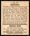 1947 Goudey Indian Gum #79   Nootka Back Thumbnail
