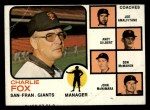 1973 Topps #252 ^ORG^  -  Charlie Fox / Joe Amalfitano / Andy Gilbert / Don McMahon / John McNamara Giants Leaders Front Thumbnail