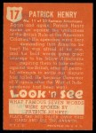 1952 Topps Look 'N See #17  Patrick Henry  Back Thumbnail