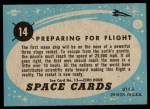 1957 Topps Space Cards #14   Preparing for Flight  Back Thumbnail