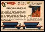1955 Topps Rails & Sails #116   Multiple Unit Train Back Thumbnail