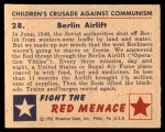1951 Bowman Red Menace #28   Berlin Airlift Back Thumbnail